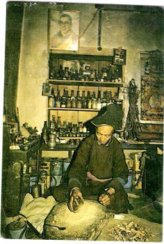 """Tibetan ician preparing medicines form herbs  These incenses have a characteristic """"earthy""""  or herbal scent to them."""