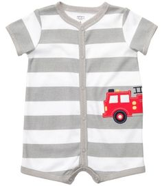 Carters Stripe Firetruck Creeper GREY 9 Mo ** Find out more about the great product at the image link.