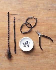 Hair Jewelry Horsehair Bracelet - Martha Stewart Holidays - These bracelets are made with a four-part braid and black hair from Martha's horses. Horse Hair Bracelet, Horse Hair Jewelry, Horse Hair Braiding, Horseshoe Crafts, Horseshoe Projects, Horse Camp, Western Crafts, Horse Crafts, Camping Crafts