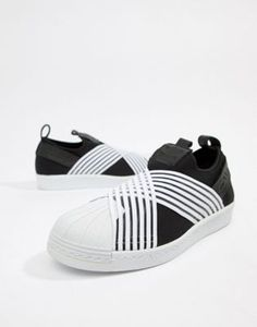 huge discount 44459 220ee adidas Originals Superstar Slip On Sneakers In Black And White