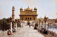 Golden Temple (Amritsar-Punjab) in 1870 black & white photo colourised.