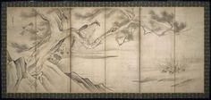 Hawk-eagle in a Pine Tree Hawk Shichô zu byôbu 鷙鳥図屏風  Japanese Edo period 17th century Soga Nichokuan (Japanese, active about 1625–1660)