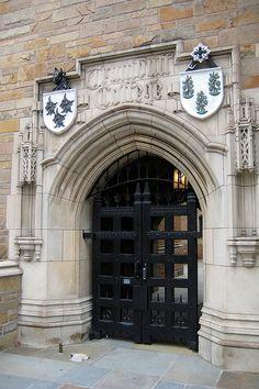 CT - New Haven: Yale University - Trumbull College. Now, that's what I call a door. Pinned on my University board as well. Door Knockers, Door Knobs, Portal, Cool Doors, Grand Entrance, Closed Doors, Doorway, Windows And Doors, Architecture Details