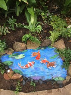 This is my fake fish pool that I painted on a large piece of slate - Bev Barbee - GartenDekore Painted Slate, Painted Rocks, Painted Garden Rocks, Painted Fish, Fish Pool, Diy Jardin, Pond Painting, Deco Floral, Rock And Pebbles