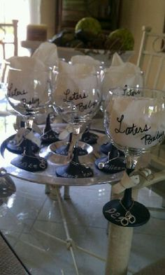 50 Shades of Grey embellished Wine Glasses by UniqueGiftsbyPeg, $15.00