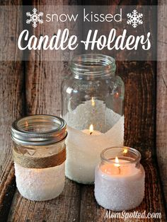 How to Make Easy Decorative Snow Candles {Plus, DIY Mason Jar Snow Kissed Candle Holders} - Mom Spotted Mason Jar Candle Holders, Mason Jar Candles, Scented Candles, Pot Mason Diy, Mason Jar Crafts, Christmas Mason Jars, Christmas Candles, Christmas Crafts For Kids, Christmas Diy
