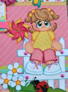 Elite4u Premade Paper Piecing Scrapbook Page, Layout Girl Spring, Album