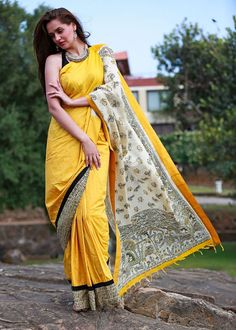 Yellow half silk with Jute printed madhubani pallu