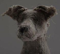 Handmade Linen Dogs by Helen Thompson aka Holy Smoke. Textile Sculpture, Dog Sculpture, Textile Art, Wire Sculptures, Helen Thompson, But Is It Art, Dog Milk, Pottery Animals, Fabric Animals