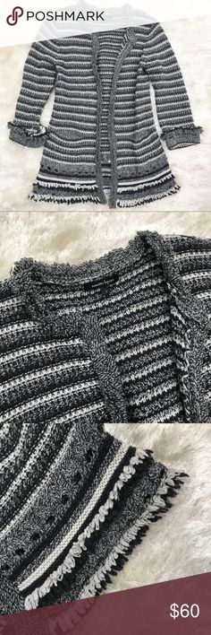 NANETTE LEPORE Fringe Cardigan Nanette Lepore Long open front Cardigan with Fringe. Knitted in black, white, and gray. Size small. Measurements forthcoming. Nanette Lepore Sweaters Cardigans