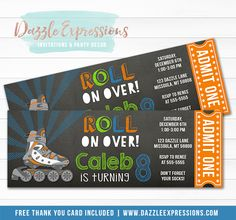 Printable Rollerblade Chalkboard Ticket Birthday Invitation | Roller Skating | Boys Skate Party | Roll on Over | Rollerblading | Thank You Card | Food Labels | Banner | Favor Tags | Photo Props | Signs | Party Decor