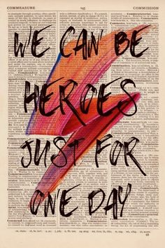 We Can Be Heroes Quote Dictionary Art Print, Vintage David Bowie Rock Band Posters, Rock Poster, Poster Wall, Poster Prints, David Bowie Art, David Bowie Tattoo, Dictionary Art, Photo Wall Collage, Cool Posters