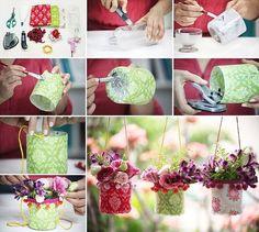 recycler une bouteille plastique et diy pot de fleur suspendu - tutoriel