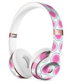 The Watermelon Polka Dot Pattern Full-Body Skin Kit for the Beats by Dre Solo 3 Wireless Headphones