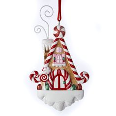 Gingerbread Kisses Candy Cane House Christmas Ornament