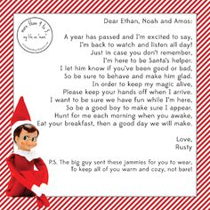 """Elf On The Shelf Arrival Letter 