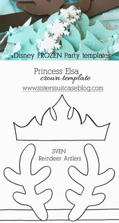 Frozen+party+crown+and+antler+templates.jpg 640×1,200 pixeles