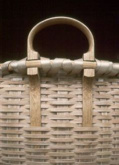 Large Round Bottom Harvest Basket - detail -  Blackash Baskets : Jonathan Kline. His first exposure to splint baskets was through the work of the Shaker and Taghkanic basketmakers whose communities were near his home in the upper Hudson Valley of New York State