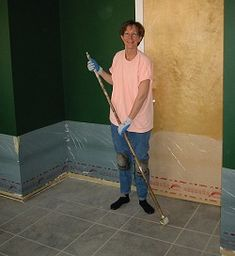 DIY How to stain a concrete floor using acid-based stain! This site (by DIY-ers) has the most thorough & easy step-by-step instructions I've seen yet. Be sure to read *everything* on this site, as they perfected their own stain formula for quickest application. You can do this, too!