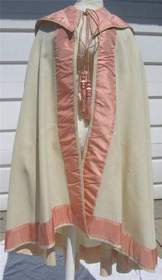 "Civil War Era Fine Cream Wool Cape Cloak Pink Silk Ribbon Fancy Tassels | eBay seller mrandmrsciv, very fine wool, 2.5"" pink silk ribbon trim, longer in back, darts under the collar, neck piped, unlined, collar/faux hood lined with cotton, length: 29-40.5""; hem width: 136"""