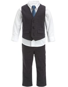 Page Boy outfit - slightly different colours though  - grey suit, navy blue shirt, grey tie     4 piece smart suit set $79.00