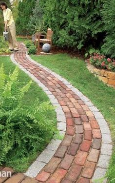 made from bricks..build this handsome backyard feature in one weekend - Make a simple garden path from recycled pavers or cobblestones set on a sand bed. — pinterest.com