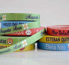 Etiquetas para ropa. Etiquetas de colores termoadhesivas y también para coser.