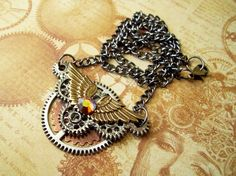 Steampunk Necklace  Aviator Inspired Pendant  by DesignsByFriston