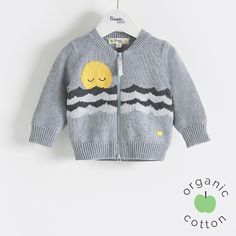 The Bonnie mob SS16 - The Life Aquatic.  COOPER Organic Cotton Grey Baby and Kids Unisex Cardigan. Knitted zip front cardigan, featuring a super cute snoozing sunset over stripey waves' intarsia design.