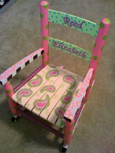 images of hand painted childrens chairs | Hand Painted Children's Furniture. Hand Painted Rocking Chair. Reed's ...