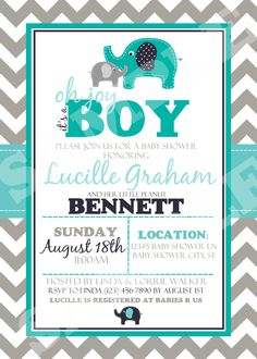 Elephant Baby Shower Invitation / Printable / by Thequiltedmonster, $10.00