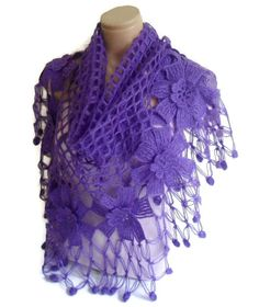 flower shawl crochet shawl wedding bride Purple by likeknitting Crochet Shawl, Hand Crochet, Handmade Gifts For Her, Mohair Yarn, Winter Trends, Brides And Bridesmaids, Wedding Bride, Valentine Day Gifts, Knits