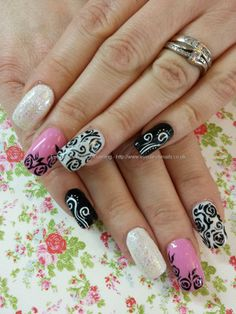 Nails-Pink black and white freehand nail art