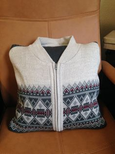 Commission for customer from her Grandfather's cardigan, a beautiful keepsake for her father. Sweater Pillow, Old Sweater, Shirt Pillows, Sweaters, Memory Pillows, What To Make, How To Make Pillows, Memory Bears, Memories