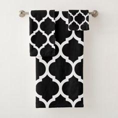 Elegan Black White Moroccan Quatrefoil Pattern Bath Towel Set - black gifts unique cool diy customize personalize