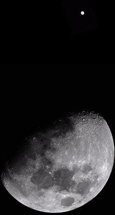 The moon and Jupiter via Russel Bateman