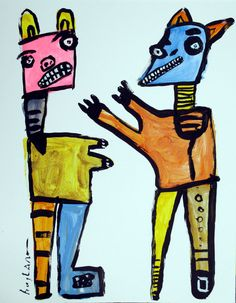 original Jeff HUGHART abstract outsider folk funky art painting - SPELLBOUND #OutsiderArt