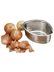 Corner Sink Basket Collects Food Scraps As Youre Cooking  Tucked tidily into the corner of your sink, this heavy-duty stainless steel basket will catch potato peels, eggshells, apple cores -- whatever food scraps accumulate while youre cooking. Rubber feet grip the sink, while the bottom drain holes ensure youre trapping food waste and nothing more. Dishwasher safe. 9 x 4 1/4 x 7.$19.95