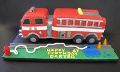 Fire Truck Birthday Fire Truck cake is All About Chocolate cake with a vanilla bean buttercream filling and covered in fondant. Fireman Party, Firefighter Birthday, Truck Birthday Cakes, Boy Birthday, Birthday Ideas, Fire Engine Cake, Fireman Sam Cake, Fire Cake, Fire Fighter Cake