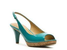 The Bride's Shoes - Turquoise Patent Sling Back, Peep Toe Pump