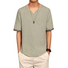 X-Future Mens 3//4 Sleeve Classic Chinese Style Linen V Neck Tee Top T-Shirts