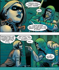 Comedy gold from harley quinn and green arrow