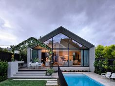 Designed by architect Pete Kennon of Melbourne-based studio Kennon+ for a young family of five, this four bedroom home seamlessly combines a quaint Victorian cottage with a modern, concrete extension of minimalist grace and formalist rigour. Victorian Cottage, Victorian Homes, Contemporary Architecture, Interior Architecture, Melbourne Architecture, Australia House, Melbourne Australia, Vic Australia, Victorian Buildings
