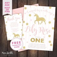 Unicorn invitation, Unicorn party, First birthday invitation, glitter invitation, first birthday, invite, baby girl, dreamcatcher, 1st pink