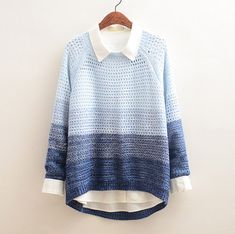 Color: blue.  Size:free size.  Front length:55 cm/21.45. Back length:63 cm/24.57. Bust:102 cm/39.78. Sleeve length:63 cm/24.57.  Fabric material: wool blended.  Tips: *Please double check above size and consider your measurements before ordering, thank you ^_^  more fashion kawaii product