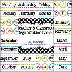 Teacher and Classroom Organization Labels