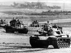 """GERMANY, Amberg : Heavy tanks of teh type M-60 of the US army in the context of the big manoeuvre REFORGER I - """"Return of Forces to Germany"""" near Amberg in Bavaria on 29 January 1969. Altogether around 17.000 soldiers participated in the manoeuvre, many of them were brought from the USA to Germany via air bridge. The equipment of the soldiers and heavy tools have already been in depots in Germany for the most part."""