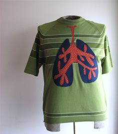 lung capacity sweater - vintage mens large s/s applique - upcycled clothing. $40.00, via Etsy.