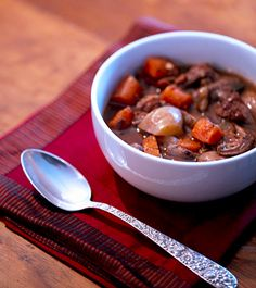 Slow cooked beef stew with red wine and wild mushrooms- I would substitute the beef for venison