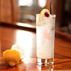 tom-collins-cocktail--invented in London in the 1820's -- lemon juice, gin, simple syrup and club soda.  Or, you can turn it into a Vodka Collins with mango nectar and orange liq.